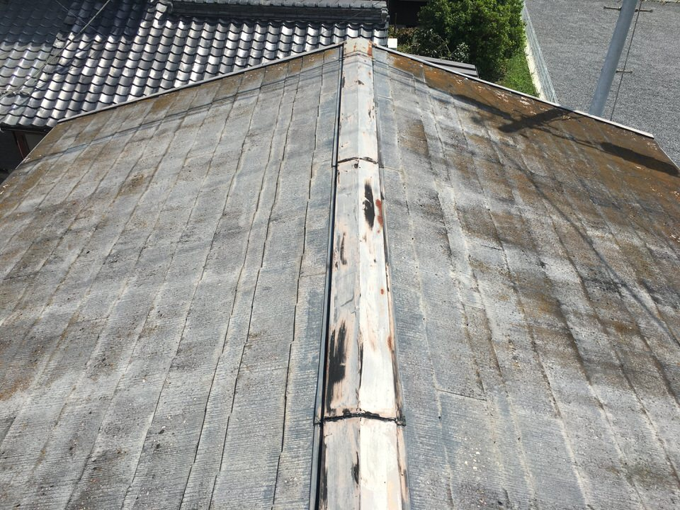 カラーベスト屋根塗装前。