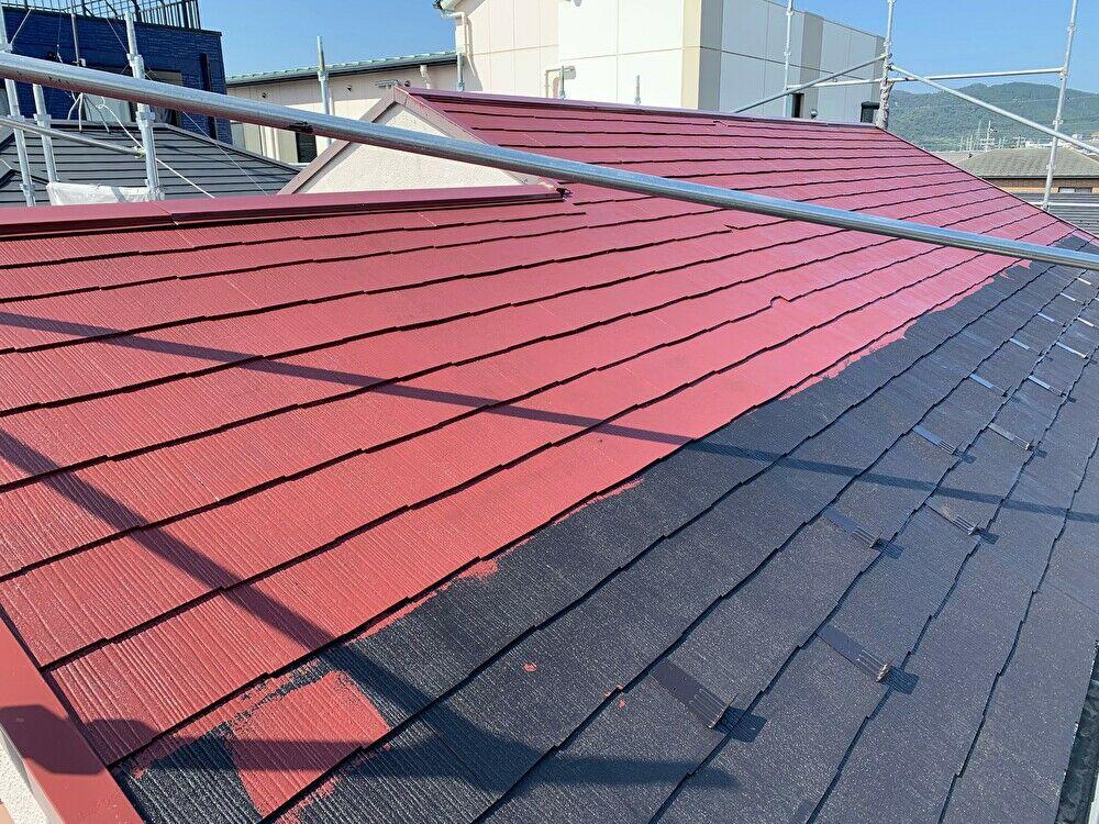 屋根塗装の施工途中